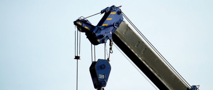 a part of a crane truck for construction