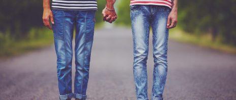 couple wearing denim jeans