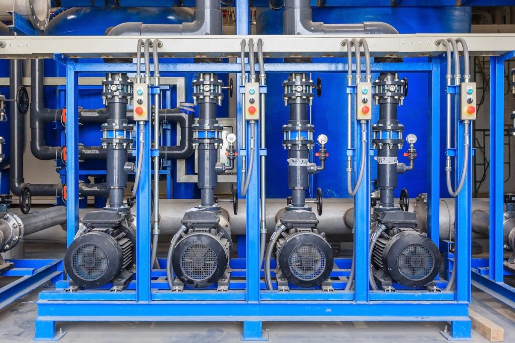 Pumps lined up in the plant