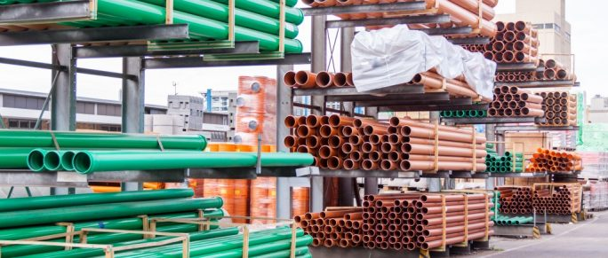 Stacks of plastic pipes