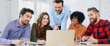 Advertising agency employees having a meeting